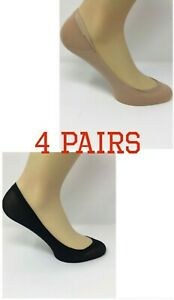 Ladies Invisible Socks/Footsies/shoe liners in Black & Nude 4 Pairs one Size UK