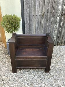 Old Oak Hall Seat / Bench With Storage / Settle