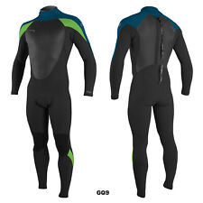 2020/21 O'Neill Epic 4X3MM Mens Back Zip Wetsuit, Black,Ultra Blue,Dayglow