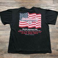 VTG Harley-Davidson Las Vegas Cafe Black T-Shirt Men's L Big American Flag C65