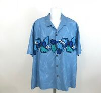 Royal Creations Mens Hawaiian Shirt Size 2XL XXL Aloha Floral Blue Button Front