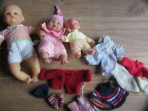 3 Puppen mit selbstgestrickter extra- Bekleidung