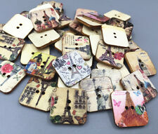 25X Wooden Square Eiffel Tower pattern Buttons 2-holes sewing scrapbooking 20mm