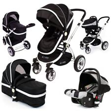 Isafe Baby Pram System 3 in 1 Complete With Carseat - Black Rain Cover