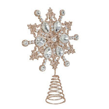 More details for kurt adler silver snowflake with clear jewel tree topper