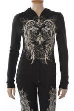 Sexy XL Hoodie Jacket Black Long Sleeve Zip Up Tan Cross Rhinestone Biker Goth
