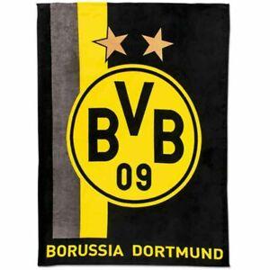 BVB Decke BVB Logo Streifen Borussia Dortmund Fleecedecke 150x200 BVB Fanartikel