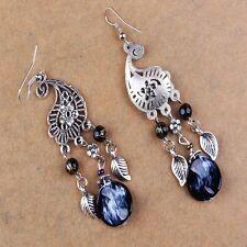 Black Bohemia Crystal Hollow Long Tassel Earrings Retro Earring Women Jewelry
