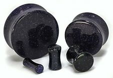 """PAIR-Glass Goldstone Blue Concave Double Flare Ear Plugs 16mm/5/8"""" Gauge Body Je"""