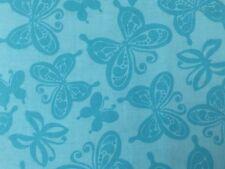 Blue Aqua FQ Fat Quarter Fabric Butterflies Patterns 100% Cotton Quilting