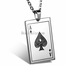 Stainless Steel Poker Card Game Spade J Pendant Necklace Men's Women's Gifts