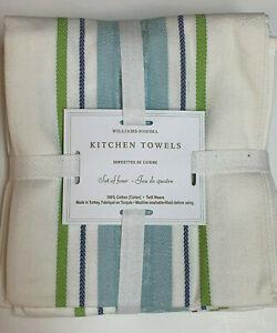 Williams-Sonoma Classic Logo Towels, Set of 4, Blue/Green
