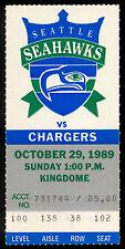 1989 OCT 29 NFL ticket stub Seattle Seahawks Steve Largent VS San Diego Chargers
