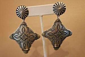Vincent Platero Sterling Silver Hand Stamped Cross Earrings