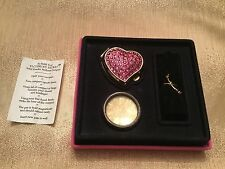 Victoria Secret RARE 1998 Pink Crystal Heart Powered Perfume Compact With Refill