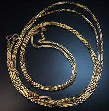 Antique Russian 72 in. Oblong Link Gold Chain Necklace
