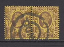 Pair of GB QV 3d Purple/Yellow SG202 Three Pence Used Jubilee Stamps