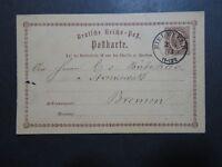 Germany 1873 Postal Card to Bremen / 2 Staple Holes - Z10202