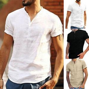Mens Short Sleeve Henley Shirt Loose Fit Summer Beach Casual Plain T-Shirt Tops