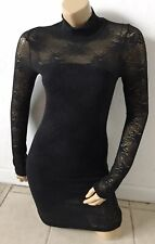 A'GACI Womens Size Small Black Lace Long Sleeve Mock Neck Sheath Dress Pullover