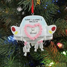 Just married WEDDING CAR Couple Personalized Christmas TREE Ornament NEW 2016
