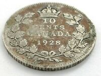 1928 Canada 10 Ten Cent Silver Dime Canadian Circulated George V Coin L489
