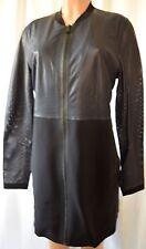 ELIE TAHARI Black/Navy Blue Perforated Lamb Leather  Front Zipper Jacket Coat L