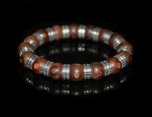 Tibetan Agate and Sterling Silver Agate Bracelet
