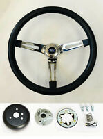 "70-76 Torino Gran Torino 15"" Black Foam on Chrome Steering Wheel Ford Cap"