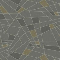 Wallpaper Designer Gold and Gray Geometric Shapes With Gray Glitter Lines