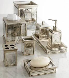 Kassatex Palazzo 8 pc Complete Bath Accessory Set Elegant Vintage Mirror Glass