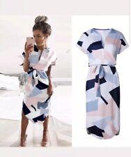 Geometric Print Dress Women V Neck Short Sleeve Casual Sashes Robe Midi Dress S