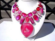 """AB Pink Druzy Solar Quartz Botswana Agate Rainbow Topaz Bib Necklace Silver 24"""""""