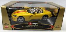 Burago 1/18 Scale Diecast - 3025 Dodge Viper RT/10 1992 Yellow Model Car