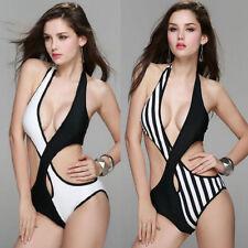 Polyester Halterneck Striped Swimwear Monokinis for Women