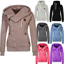 Women Winter Plain Zipper Zip Top Hoodie Hooded Sweatshirt Coat Jacket Pullover