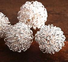 4x Metall Perlen Draht gewickelt silber 20mm wo017