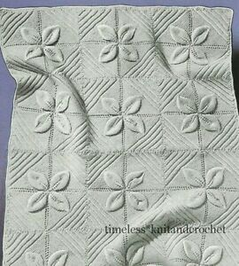 VINTAGE 1950s KNITTING PATTERN FOR BABY COT COVER  / BLANKET IN LEAF PATTERN