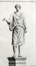 Statue d'un prêtre Romain Rome Roma Antiquité Montfaucon - Gravure XVIIIe