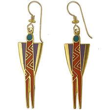 NEW! Laurel Burch PRIESTESS Red Cloisonne Tribal Woman Retired Earrings