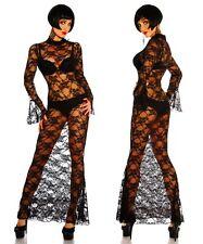 Sexy robe longue en dentelle avec col montant et légèrement évasé Manches