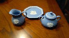 Wedgewood Blue Jasperware Creamer, Sugar & Plate Nice!