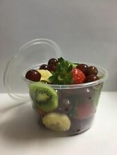 16 oz. Round Plastic Clear Deli Food Container Cup 500 pack w/Lids / Somiplast