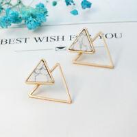 Fashion Women Geometric Minimalist Square Round Triangle Stud Earrings