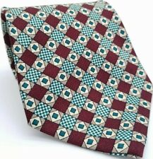 DONBERRY & KEATS Men's Burgundy Green Checked Square Pattern Necktie Tie L 55.5""