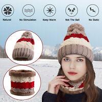 Women Winter Beanie Hat Knit Scarf Set Fleece Balaclava Warm Ski Snow Skull Cap