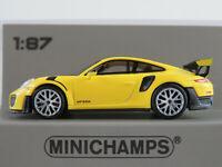 Minichamps 870 068128 Porsche 911 GT2 RS (2018) in gelb 1:87/H0 NEU/OVP