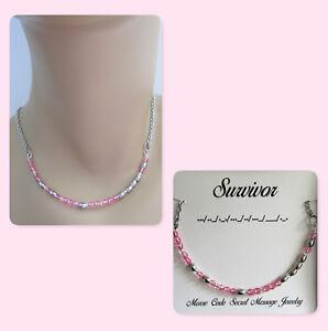 Survivor Morse Code Crystal Necklace, Gift for Mom, Cancer Survivor, Gift Wife