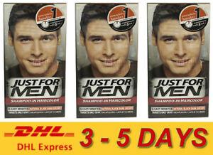 3x Just for Men Shampoo-In Hair Colour Color Mens Dye # Natural Black Dark Brown