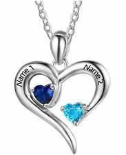 Personalized Sterling Silver 2 Stone 2 Name Open Heart Mothers Promise Necklace1